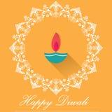 Lampade decorative di Diwali, progettazione piana felice della cartolina d'auguri di diwali illustrazione vettoriale