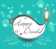 Lampade decorative di Diwali, progettazione piana felice della cartolina d'auguri di diwali illustrazione di stock