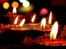 Lampade di rituale di Diwali Fotografie Stock