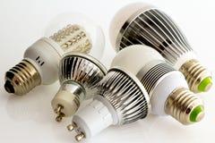 Lampade E27 e GU10 del LED senza e con raffreddarsi Immagini Stock