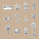 Lampade ed icone del disegno di illuminazione messe Fotografia Stock Libera da Diritti
