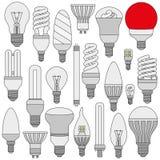 Lampade leggere messe Icone descritte colorate isolate sul bianco Fotografie Stock