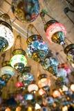 Lampade turche in grande bazar Fotografie Stock Libere da Diritti