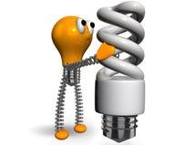 Lampadina arancione che tiene lampadina economizzatrice d'energia bianca royalty illustrazione gratis
