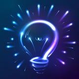 Lampadina astratta blu luminosa delle luci al neon Immagine Stock Libera da Diritti