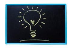 Lampadina come concetto di idea sulla lavagna. Immagine Stock