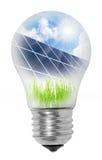 Lampadina con i comitati solari. Immagini Stock