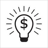 Lampadina con il concetto di affari di simbolo del dollaro royalty illustrazione gratis