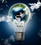 Lampadina con il globo Fotografie Stock Libere da Diritti