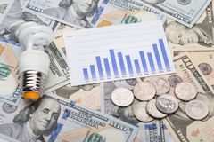 Lampadina con il grafico e monete sulle banconote in dollari Fotografia Stock