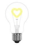 Lampadina con il simbolo scintillante del cuore all'interno Fotografia Stock