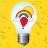 Lampadina con l'arcobaleno Immagine Stock Libera da Diritti