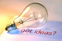 Lampadina con le idee ottenute Immagine Stock Libera da Diritti