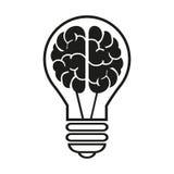 Lampadina con un'icona del cervello Illustrazione EPS10 di vettore Immagine Stock