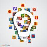 Lampadina creativa moderna con l'icona dell'applicazione Fotografia Stock Libera da Diritti