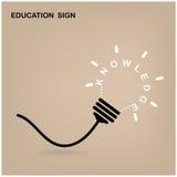 Lampadina creativa, segno di istruzione Fotografia Stock Libera da Diritti