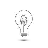 Lampadina del cervello astratto del profilo Fotografia Stock