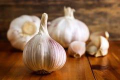 Lampadina del chiodo di garofano di aglio e dell'aglio su fondo di legno Fotografie Stock