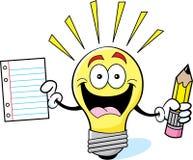 Lampadina del fumetto che tiene un documento e una matita Immagine Stock
