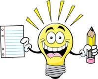 Lampadina del fumetto che tiene un documento e una matita Fotografia Stock