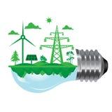 Lampadina dell'illustrazione di Ecoloy con il simbolo pulito dell'energia rinnovabile e della natura dentro Fotografie Stock