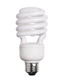 Lampadina della luce fluorescente di CFL isolata su bianco immagine stock