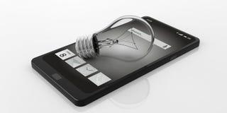 lampadina della luce gialla della rappresentazione 3d su uno Smart Phone Fotografia Stock