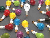 lampadina della matita 3d con gli ingranaggi come direzione Immagini Stock