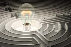 Lampadina dentro il labirinto del labirinto rappresentazione 3d Immagini Stock