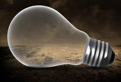 Lampadina, deserto desolato, idee immagine stock