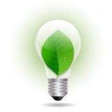 Lampadina di Eco con la foglia Fotografie Stock