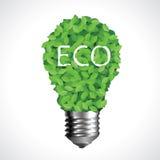 Lampadina di Eco fatta dei fogli verdi Illustrazione Vettoriale
