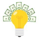 Lampadina di nuova idea ed icona piana delle banconote Immagini Stock