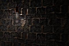 Lampadina di stile antico decorativo di edison contro il fondo del muro di mattoni Immagine Stock