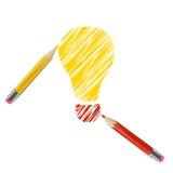 Lampadina disegnata con le matite di colore Immagini Stock