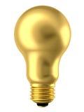 Lampadina dorata isolata su bianco Immagine Stock Libera da Diritti
