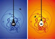 Lampadina e una mosca sulla priorità bassa del cerchio Fotografie Stock Libere da Diritti