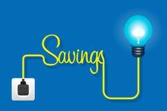 Lampadina economizzatrice d'energia nell'incavo su fondo blu Illustrazione di Stock