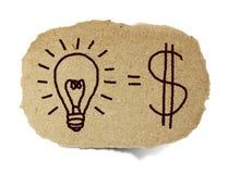 Lampadina ed il beneficio finanziario Immagini Stock Libere da Diritti