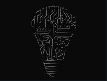 Lampadina fatta dei circuiti elettronici Fotografia Stock
