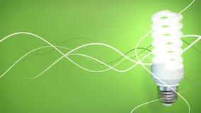 Lampadina fluorescente su priorità bassa verde Fotografia Stock Libera da Diritti