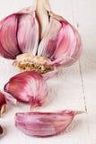 Lampadina fresca dell'aglio con i chiodi di garofano sciolti Fotografie Stock