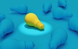 Lampadina gialla unica fra molte lampadine blu, rappresentazione 3d illustrazione di stock