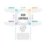 Lampadina Infographic dell'ingranaggio Fotografie Stock