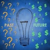 Lampadina per il passato ed il futuro Fotografia Stock Libera da Diritti