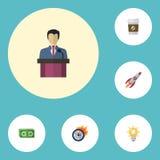 Lampadina piana delle icone, limite, rottura ed altri elementi di vettore L'insieme dei simboli piani delle icone dei progetti in Immagini Stock