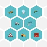 Lampadina piana delle icone, sollevante macchina, schiacciasassi ed altri elementi di vettore Insieme dei simboli piani delle ico Fotografia Stock