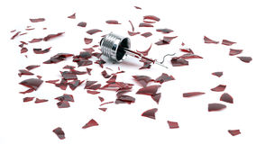 Lampadina rotta della luce rossa Immagine Stock