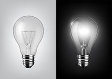 Lampadina spenta e lampadina d'ardore su fondo in bianco e nero, vettore trasparente Immagine Stock