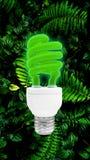 Lampadina verde della luce fluorescente con il percorso di ritaglio Fotografia Stock Libera da Diritti